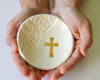 Cross Ring Dish, Gold Leaf Cross Ring Dish, Ceramic Ring Dish, Ring Dish, Christian Ring Dish, Lace Imprint, Ceramic Dish, Gold leaf
