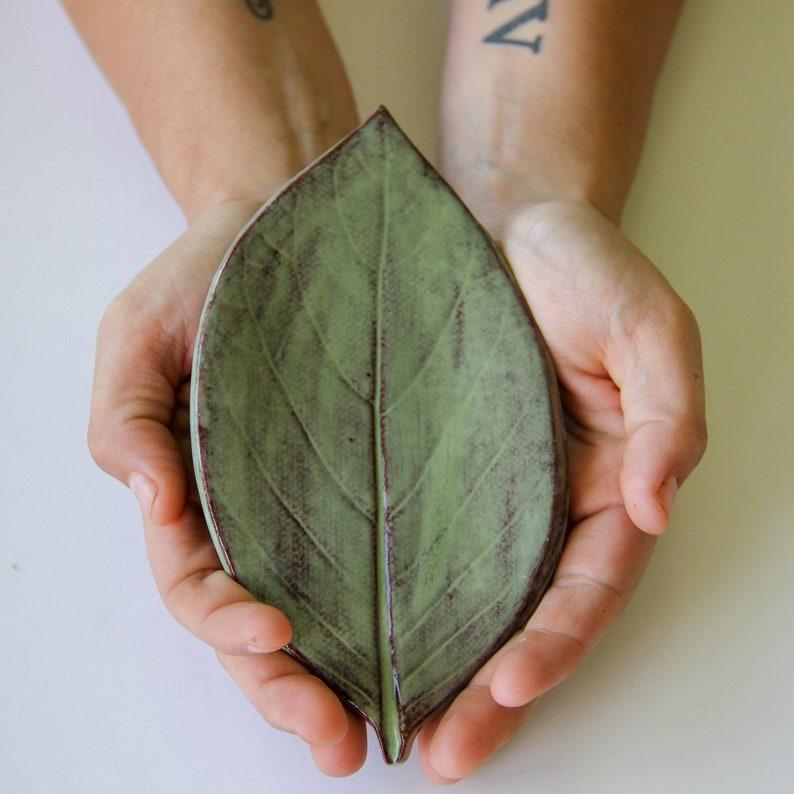 Large Leaf Ceramic Soap Dish handmade pottery leaf imprint image 1