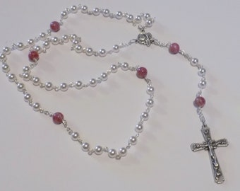 Pearl or Crystal Rosary Custom made from your Flowers