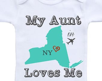 Aunt Onesies Personalized state Aunt baby onesies Aunt baby clothes Aunt shirt My Aunt loves me Onesie My aunt onesie My auntie loves me