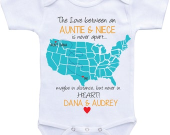 Personalized country state map uncle onesies uncle and personalized country state map aunt onesies aunt and niecenephew auntie onesie aunt baby clothes i love my aunt shirt custom baby gifts negle Image collections