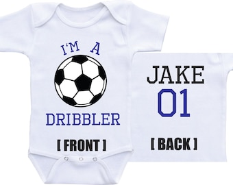 I'm A Dribbler Personalized Soccer Onesie, football Sports Onesie-Soccer Baby Shirt for baby boy or girl