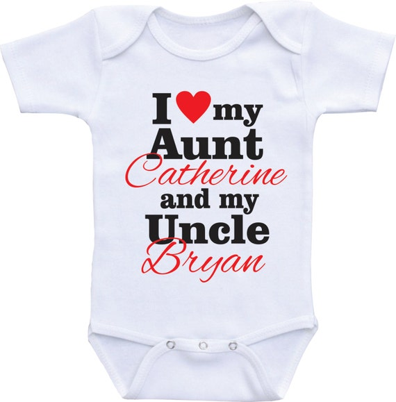 I Love My Auntie Embroidered Baby T-Shirt Gift Aunt Nephew Niece Heart