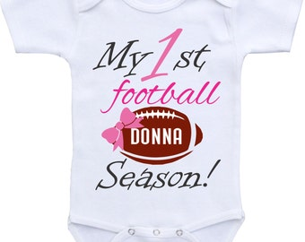 Baby Girl Football Onesie My First Football Season Football Sports Outfit, Personalized Football Baby Shirt for baby girl football outfit
