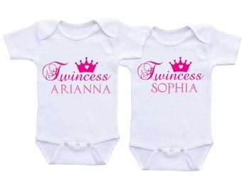 Twincess Twin Baby gifts Personalized Twin Onesies baby girl Twins,Custom Twin Bodysuits,Twin Baby Onesies Twin Outfits Twin Baby shirts