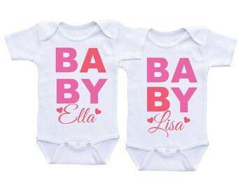 Cute Twin Onesie for baby girls,Twins Onesie, Clothing for twins, Twins Gifts, Twin Outfits, Twin Clothings, Girl Twin Onesies
