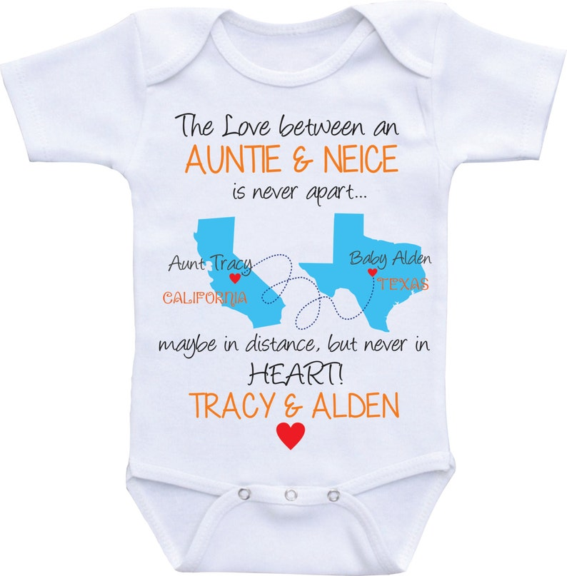 Personalized State map country Auntie Onesies Aunt and NieceNephew Aunt Onesie  Aunt baby clothes I love my Aunt shirt Custom baby gifts