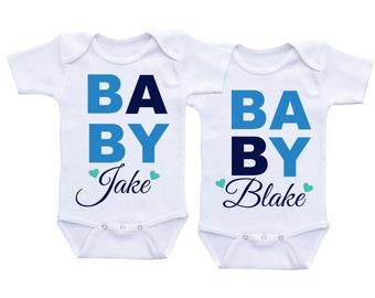 Cute Twin Onesie for baby boys,Twins Onesie, Clothing for twins, Twins Gifts, Twin Outfits, Twin Clothings, Boy Twin Onesies
