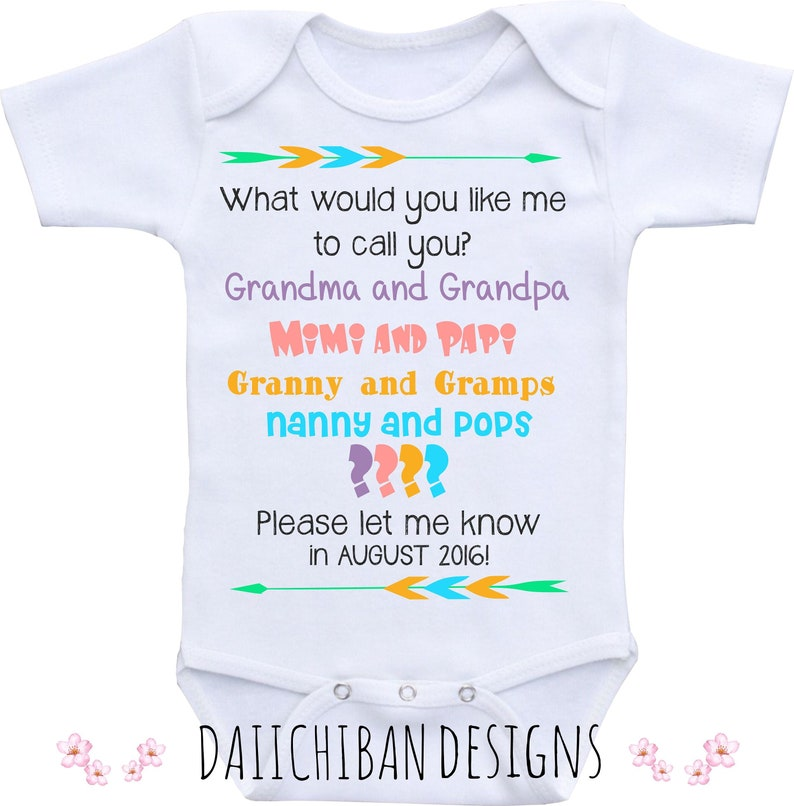 12c128c73 Baby announcement Grandparent to be Onesie Birth Announcement | Etsy