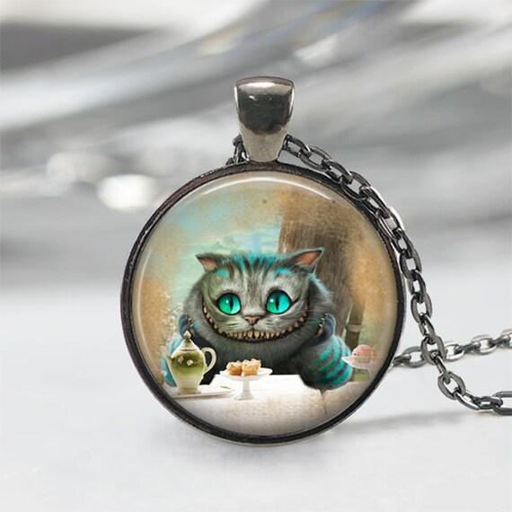 Kot Cheshire Alicja W Krainie Czarów Biżuteria Naszyjnik Etsy
