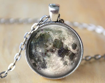 Luna llena collar espacio cuadro colgante galaxia joyas regalo para su regalo antiguo colgante de plata para regalo de cumpleaños de mamá colgante