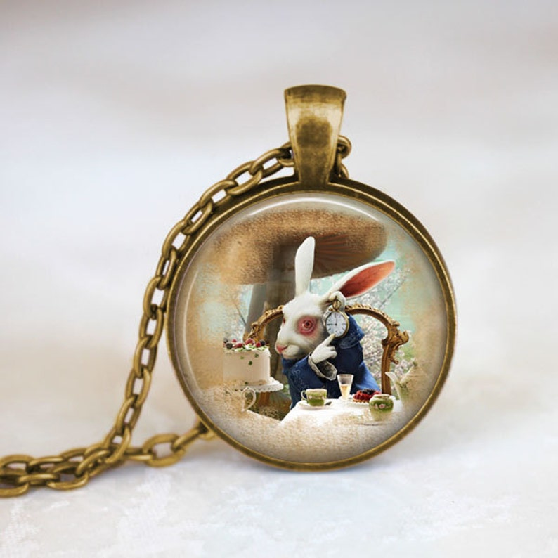 Silver Plated Necklace New in Gift Bag Alice in Wonderland White Rabbit Bronze