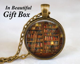 Library Book Necklace - Book Worm Necklace Book Necklace Book Lovers Librarian Jewelry Literary Jewelry Gift For Writers Jewelry For Teacher