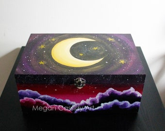Moon and stars arylic painted fluid paint wooden box
