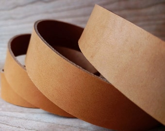 "40-50"" Camel Color Veg-Tanned Leather Strap 2mm / 5oz, Italian Vegetable Tanned Leather Straps, Flat Leather Cord, Soft, Oiled Leather Strip"