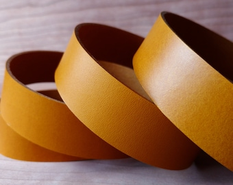 Mustard Yellow Veg-Tanned Leather Strap 1.2mm, 2mm, Italian Vegetable Tanned Leather Straps, Leather Strips for DIY Leather crafts