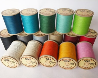 Size 532 Sajou Fil Au Chinois Waxed Cable Linen Threads - 50g Spool, Leatherwork Cable Linen Cord, Lin Cable Threads
