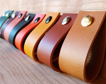 Leather Pulls 3mm / 7.5oz, Leather Handles, Loops, Dresser, Drawer, Cabinets, Door Handles. Leather Kitchen Pulls, Cupboard, Knobs - 1 inch