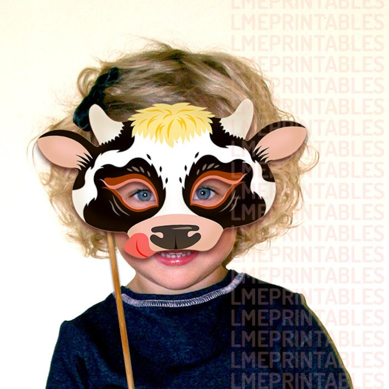 Cow Mask Printable Black White Animal Farm Barnyard Animals Paper Spotted  Masks Children Adult Party PDF Costume Halloween Birthday Carnival