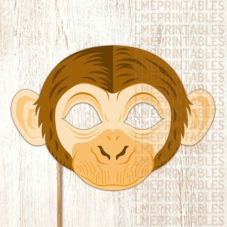 image about Monkey Mask Printable known as Monkey Mask Printable Animal Chimpanzee Masks Childrens Celebration PDF Dress Chinese Clean Yr Halloween Birthday Carnival Grownup Youngsters Mardi Gras
