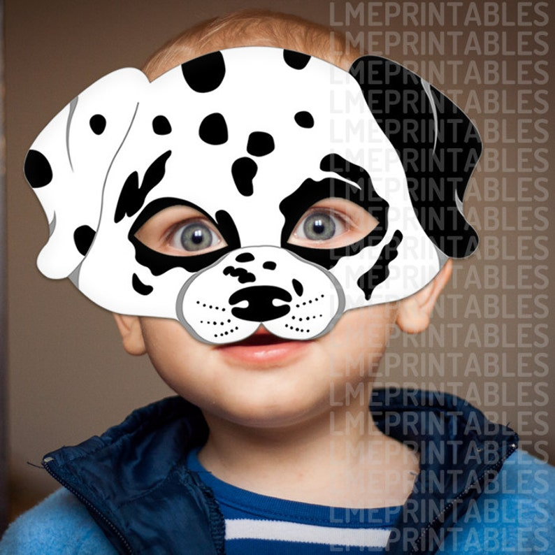 graphic relating to Dalmation Printable referred to as Dalmatian Puppy Mask Printable Animal Childrens Halloween Masks Noticed Puppy White Social gathering Dress Birthday Carnival Grown ups Small children 101 Dalmatians