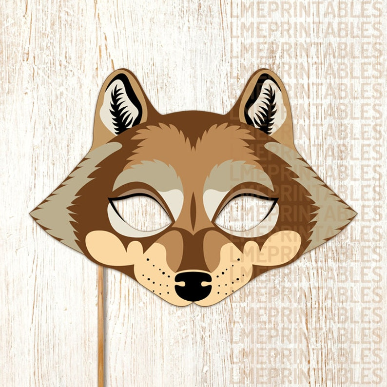 picture regarding Wolf Mask Printable named Wolf Mask Printable Brown Animal Masks Large Poor Wolf Childrens Do it yourself Celebration Picture Booth Prop Birthday Halloween Dress Bash Prefer Grownups Youngsters