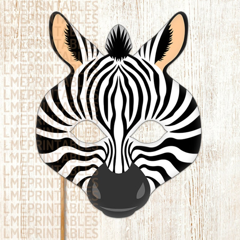 Zebra Printable Mask DIY Safari Jungle Black Animals Masks Booth Prop  Birthday Party Game Halloween Costume Children Adult Photo Masquerade