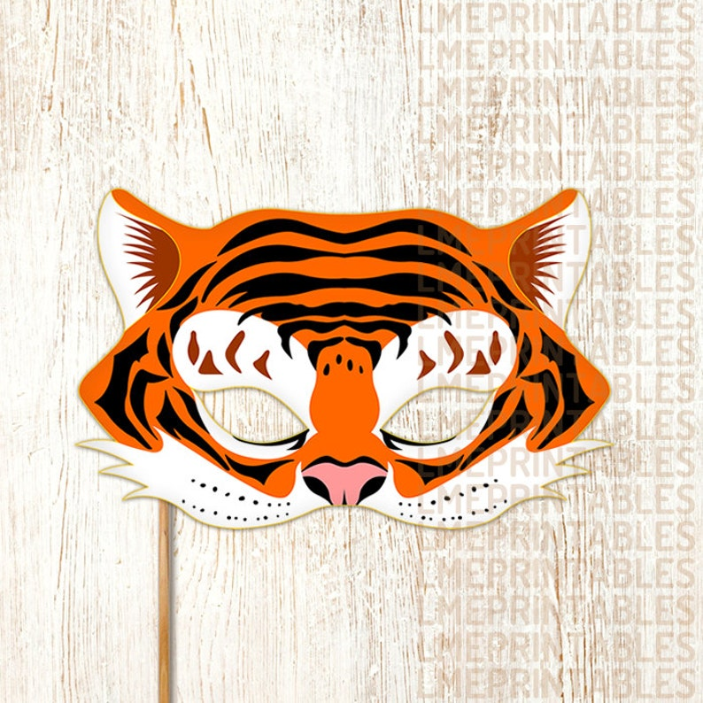 image about Printable Tiger Mask called Tiger Mask Printable Animal Masks Childrens Celebration PDF Dress Masquerade Halloween Birthday Decoration Carnival Grownups Children Mardi Gras