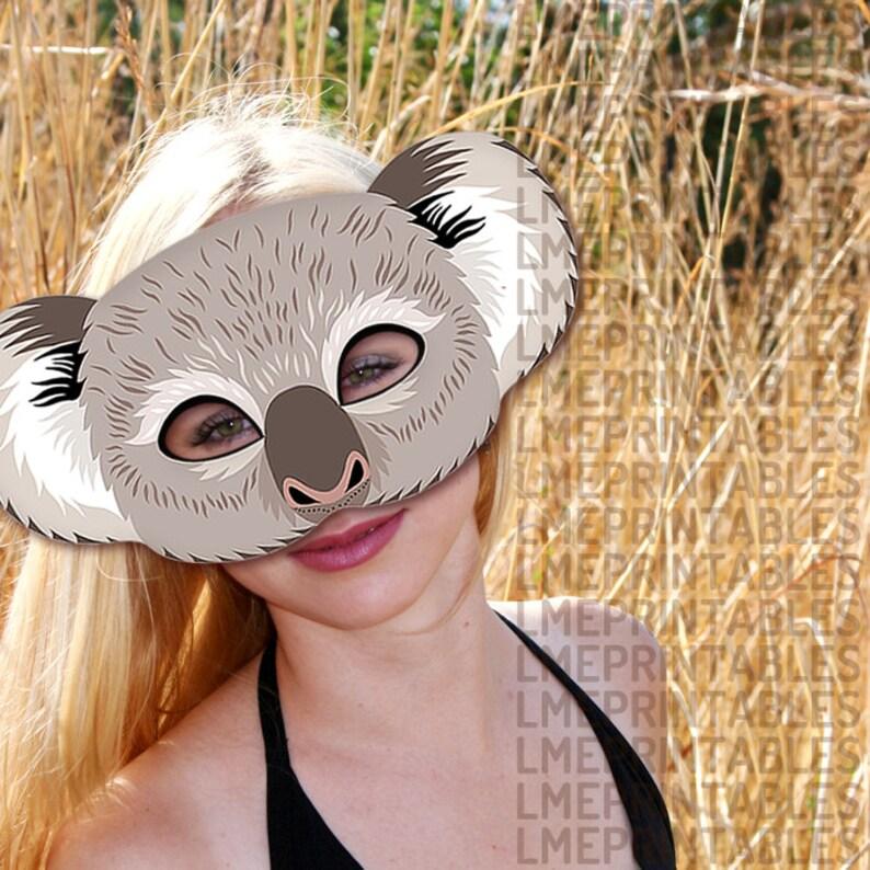 Koala Printable Mask Gray Bear DIY Animal Masks Booth Prop ...