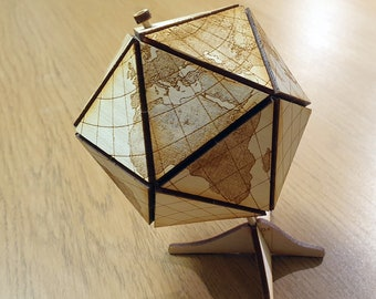 Dymaxion Globe Kit - with stand - Free Global Shipping