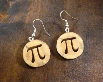 Maple Wood Earrings with Pi symbol - minimalist jewelry - hand cut with scroll saw - FREE SHIPPING