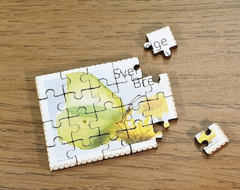Miniature Wooden Stamp Jigsaw-puzzle. Swedish, 2017 Stamp. Yellow Butterfly (Citronfjäril). Second in Series. Free global shipping