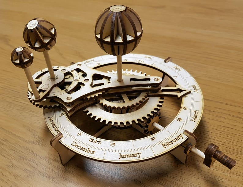 Wooden Model of the Solar System  Orrery Kit. Free Global image 0