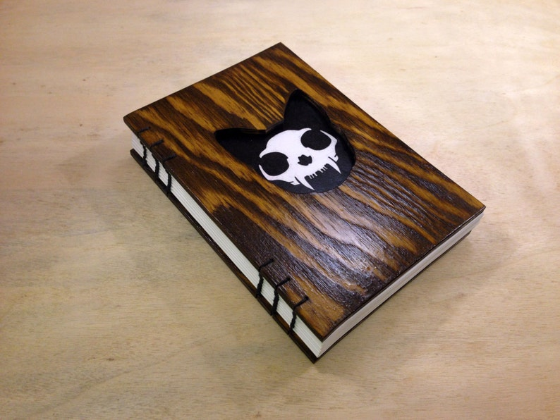 Small notebook wooden cover and cat head cutout  skull image 0