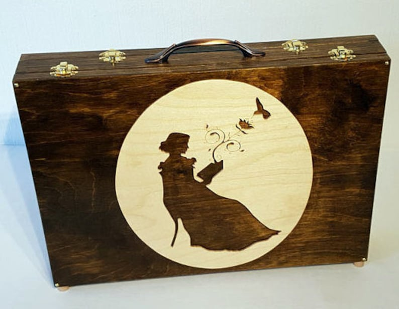 Wooden Laptop Case with Reading Woman motive  for 13 image 0