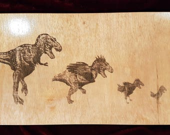 Wooden Poster - Evolution of Chicken - Engraved on Lauan Wood.