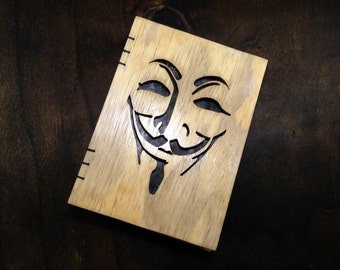 Wooden cover notebook with Anonymous image - scroll-saw cutout - handmade.