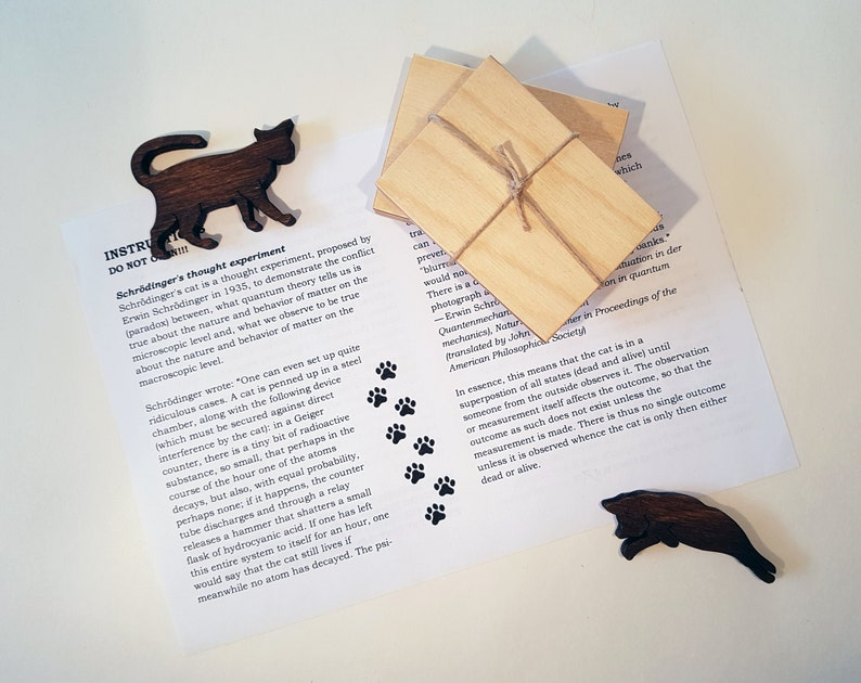 Wanted Dead and Alive Quantum Mechanics Nerd Wood Wooden Rectangle Key Chain Schrodingers Cat