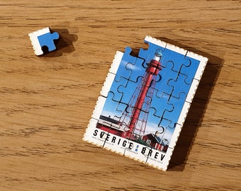 Lighthouse Miniature Wooden Stamp Jigsaw-puzzle. 2018 Swedish Lighthouse (Pite-Rönnskär) Stamp Collection. Free global shipping