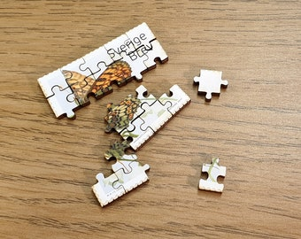 Miniature Wooden Stamp Jigsaw-puzzle. Swedish, 2017 Stamp. Checkerboard Butterfly (Ängsnätfjäril). Second in Series. Free global shipping