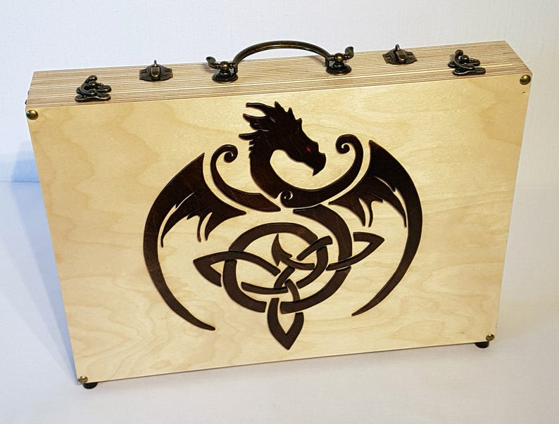 Wooden Laptop Case with Celtic Dragon motive  for 13 image 0