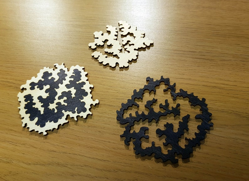 Wooden Fractal Puzzle Coasters Set Of 4 Free Global Shipping