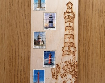 Miniature Wooden Stamp Set Jigsaw-puzzles. 2018 Swedish Lighthouses Stamp Collection. Free global shipping