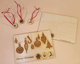 Engraved Wooden Christmas Postcard - Christmas Postcard with push out ornaments - Free global shipping.