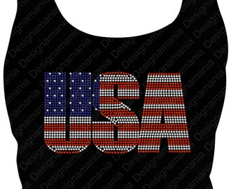 USA American  Flag Rhinestone Bling Olympics or Election T shirt or Tank