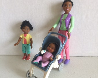 Vintage Fisher Price Loving family dollhouse baby,  Loving Family baby stroller, Loving family African American people