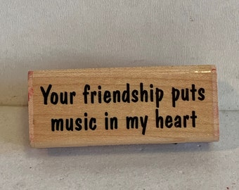 Rubber Stamp Stampabilities stamp Stampabilities Music in My Hear stamp Wood stamp Musical phrase stamp Wooden Rubber Stamp Ink stamp