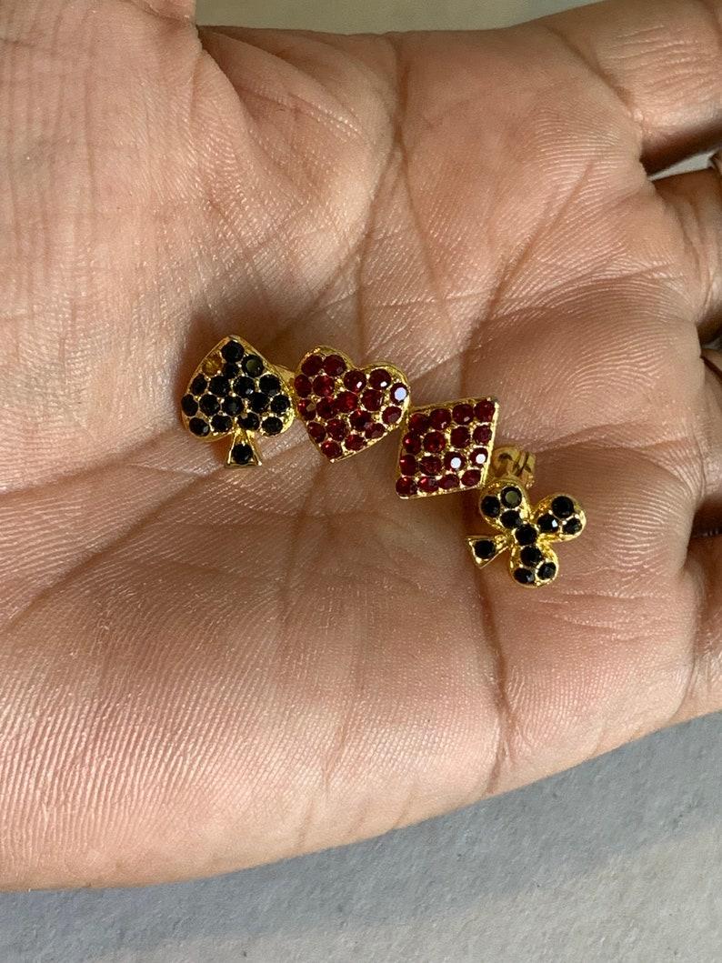 Poker Pin vintage Jewelry Rhinestones gold tone Poker theme brooch Gold tone Jewelry Poker Jewelry Poker Brooch