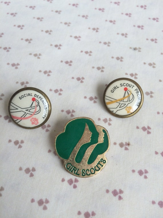 Vintage 1980's Girl Scouts pins, Girl Scout pins,