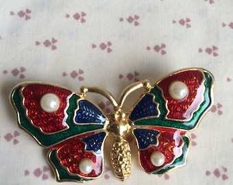 Vintage Butterfly Pin, Navy Blue and burgundy Butterfly Brooch, blue butterfly Enamel Pin, Blue enamel with pearls Butterfly Pin